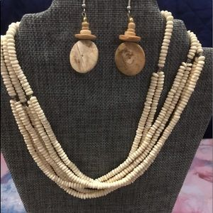 Jewelry - Natural beaded necklace and earrings